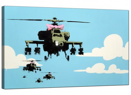 Large Banksy Happy Choppers Modern Canvas Art - 73cm - 172m