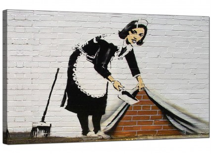 Large Banksy Sweeping it Under The Carpet Modern Canvas Art - 73cm - 161m