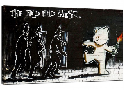 Large Banksy Mild Mild West Modern Canvas Art - 73cm - 164m