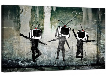 Large Banksy Banksy Modern Canvas Prints - TV Heads Canvas Art - 73cm - 177m