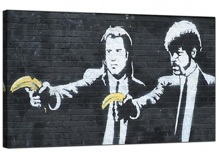 Large Banksy Pulp Fiction Modern Canvas Art - 73cm - 179m