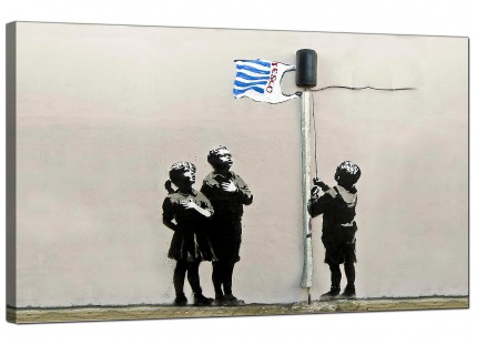 Large Banksy Tesco Generation - Very Little Helps Canvas Art - 73cm - 169m