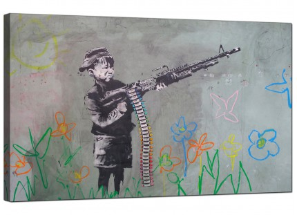 Large Banksy Boy with Crayon Gun Modern Canvas Art - 73cm - 183m