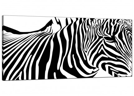 Large Black White Abstract Zebra Stripes Modern Canvas Art - 120cm - 1022
