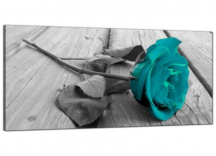 Large Teal Rose Grey Black White Flower Floral Modern Canvas Art - 120cm - 1037