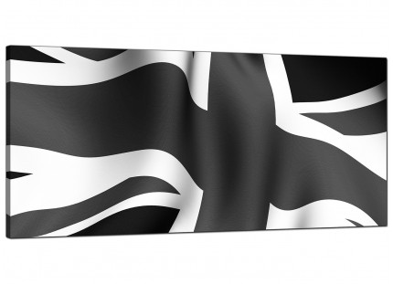 Large Black White Grey Union Jack Flag Abstract Modern Canvas Art - 120cm - 1019