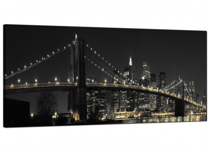 Large Black White NYC Brooklyn Bridge Cityscape Modern Canvas Art - 120cm - 1075