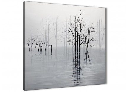 Black White Grey Tree Landscape Painting Bathroom Canvas Wall Art Accessories - 1s416s - 49cm Square Print