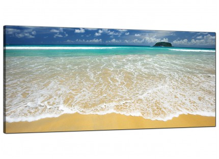 Large Tropical Ocean Sandy Shore Scene Beach Modern Canvas Art - 120cm - 1043