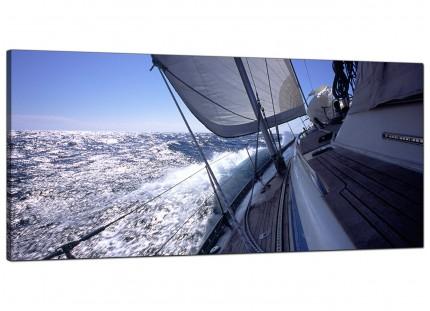 Large Sailing Yacht Boat Blue Ocean Waves Landscape Canvas Prints - 120cm - 1105