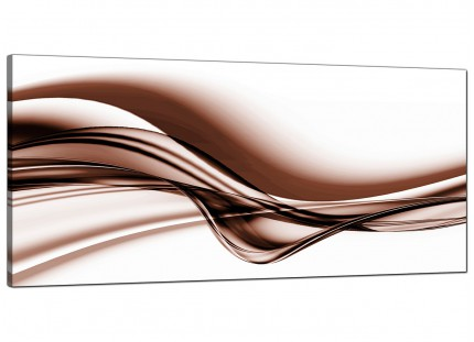 Large Brown and White Modern Wave Abstract Canvas Art - 120cm - 1034