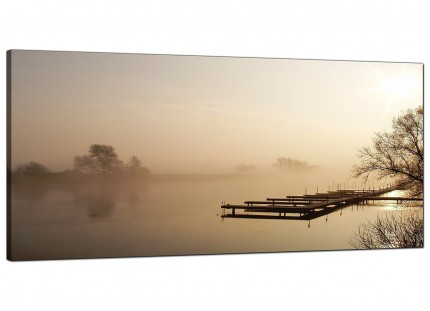 Large Sepia Brown Sunset Jetty Sunset View Landscape Canvas Art - 120cm - 1117