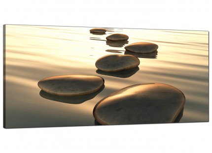 Large Brown Zen Stepping Stones Lake Landscape Modern Canvas Art - 120cm - 1046
