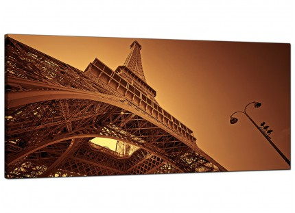 Large Brown and Cream Eiffel Tower Paris Cityscape Canvas Wallart - 120cm - 1013
