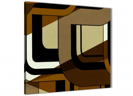 Brown Cream Painting Bathroom Canvas Wall Art Accessories - Abstract 1s413s - 49cm Square Print