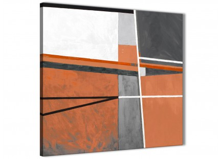 Burnt Orange Grey Painting Bathroom Canvas Pictures Accessories - Abstract 1s390s - 49cm Square Print