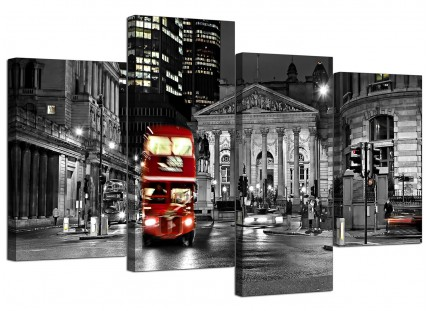 Red London Bus Street Black White City Canvas - Split 4 Set - 130cm - 4208