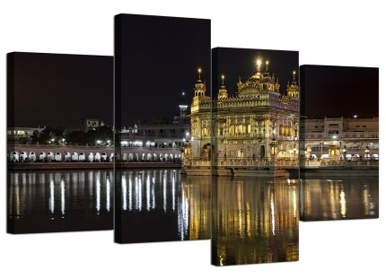 Sikh Golden Temple Amritsar Night Canvas - Split 4 Part - 130cm - 4195