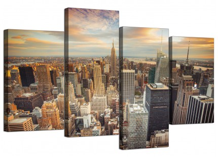 New York Skyline Sunset Manhattan Cityscape Canvas - Split 4 Part - 130cm - 4202