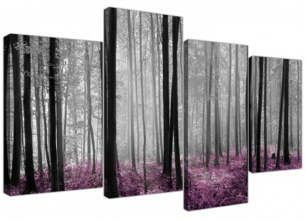 Black Grey Plum Purple Forest Trees Landscape Canvas - 4 Piece - 130cm - 4240