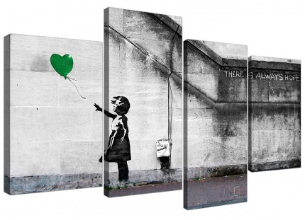 Banksy Balloon Girl Green Heart Hope Canvas - Split Set of 4 - 130cm - 4222