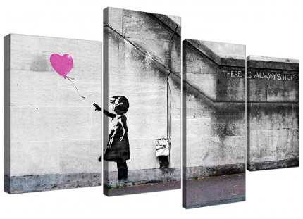Banksy Balloon Girl Pink Heart Hope Canvas - Multi 4 Set - 130cm - 4227