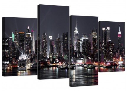 New York City Skyline - Black White Cityscape Canvas - Set of 4 - 130cm - 4187