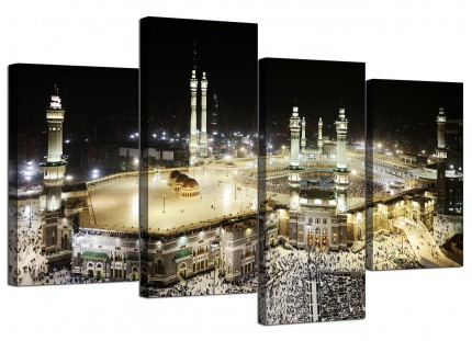 Islamic Canvas - Mecca at Night - Hajj Canvas - Split 4 Set - 130cm - 4190