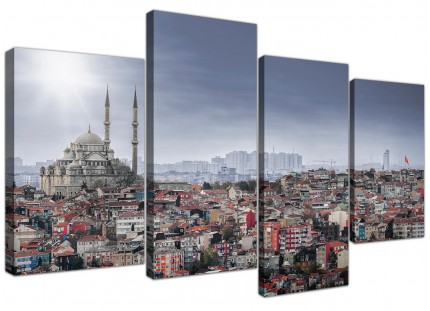 Istanbul Skyline - Islamic Mosque Cityscape Canvas - 4 Panel Set - 130cm - 4274