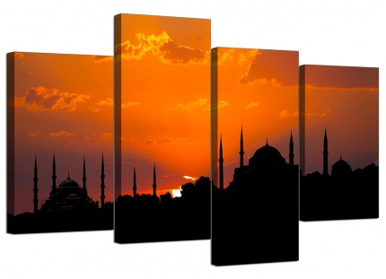 Istanbul Skyline Sunset - Blue Mosque Landscape Canvas - 4 Part - 130cm - 4205