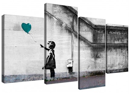 Banksy Balloon Girl Teal Heart Hope Canvas - Split 4 Piece - 130cm - 4220