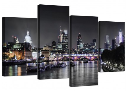 London Skyline at Night Cityscape Canvas - Multi 4 Piece - 130cm - 4211