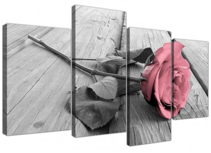 Pink Grey Rose Flower Pastel Floral Canvas - Split 4 Set - 130cm - 4271