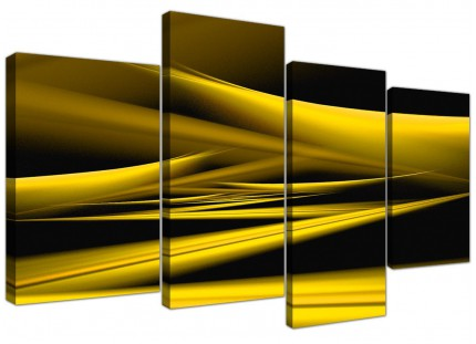 Yellow Black Modern Contemporary Waves Abstract Canvas - 4 Piece - 130cm - 4257