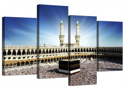 Islamic Canvas - Hajj Pilgrimage Kaaba Canvas - Split 4 Panel - 130cm - 4191