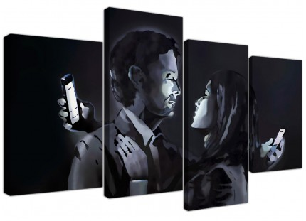 Banksy Mobile Lovers Canvas - Multi Set of 4 - 130cm - 4212
