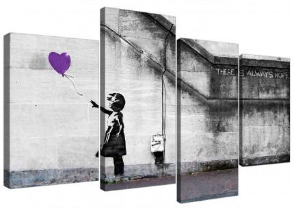 Banksy Balloon Girl Purple Heart Hope Canvas - Split 4 Part - 130cm - 4223