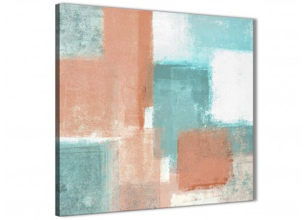 Coral Turquoise Bathroom Canvas Pictures Accessories - Abstract 1s366s - 49cm Square Print