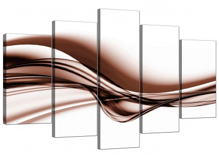 Extra Large Brown and White Modern Wave Abstract Canvas - 5 Part - 160cm - 5034