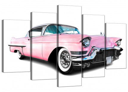Extra Large Pink Cadillac American Classic Car Canvas - 5 Set - 160cm - 5040