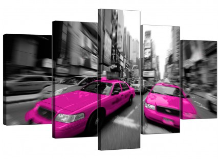 Extra Large Pink Grey Black New York Taxi Cab City Canvas - 5 Set - 160cm - 5026