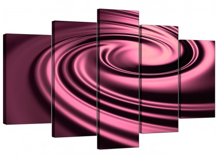 Extra Large Plum Coloured Swirl Design Abstract Canvas - 5 Part - 160cm - 5059