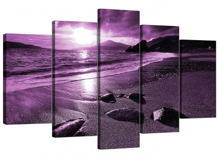 Extra Large Purple Sunset Beach Scene Landscape Canvas - Set of 5 - 160cm - 5077