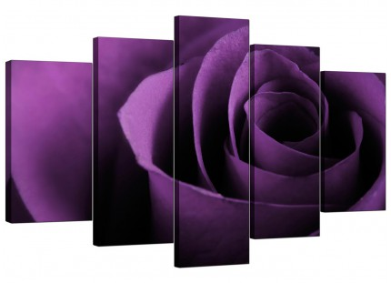 Extra Large Purple Rose Petal Flower Floral Canvas - 5 Piece - 160cm - 5112