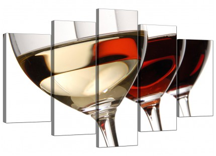 Extra Large Red White Wine Glasses Kitchen Canvas - 5 Piece - 160cm - 5067