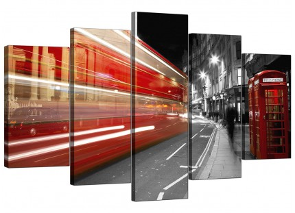Black White Red London Bus Street Scene City XL Canvas - 5 Set - 160cm - 5127