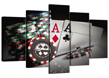Extra Large Poker Playing Cards Gambling Aces Canvas - 5 Part - 160cm - 5048
