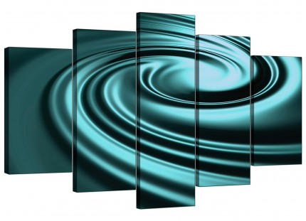 Extra Large Teal Coloured Swirl Design Abstract Canvas - 5 Panel - 160cm - 5060
