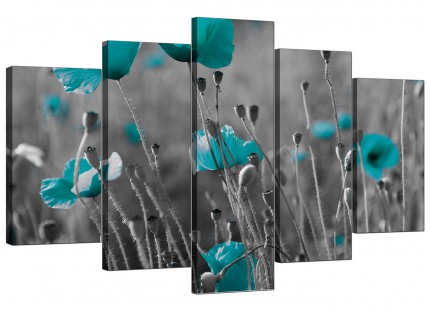 Teal Poppy Grey Black Poppies Flower Floral XL Canvas - 5 Piece - 160cm - 5139