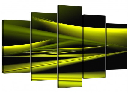 Extra Large Lime Green & Black Waves Abstract Canvas - Set of 5 - 160cm - 5047